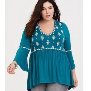 Torrid Embroidered Babydoll Top
